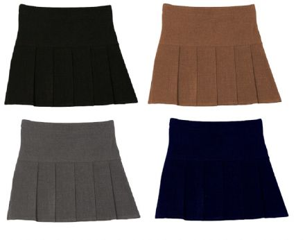 Girls School Uniform Wear Hand Pleat Secondary Skirt